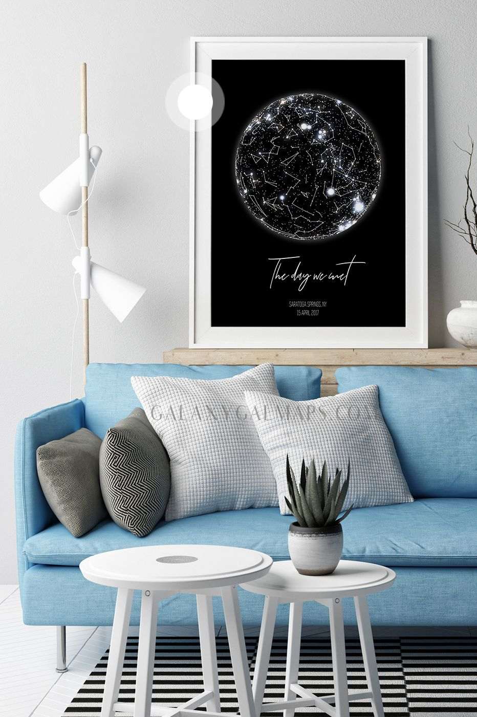 Personalized Star Map Star Chart Wall Art Fun Print Blue Home Decor Extra Large Print White Wall Hanging Minimal Kidsroom Decor Home Decor Zodiac Gifts