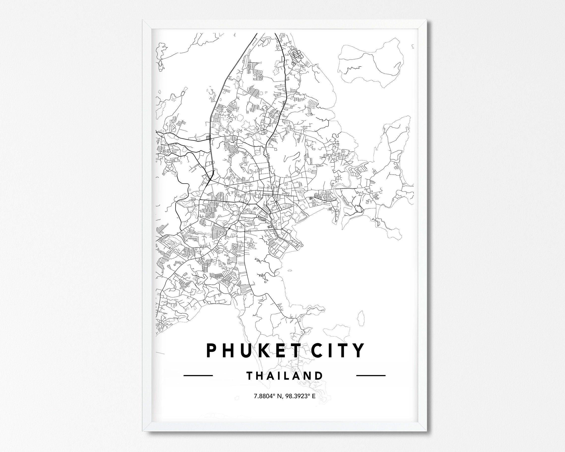 Phuket City Map Print, Custom City Map Print, Phuket Map