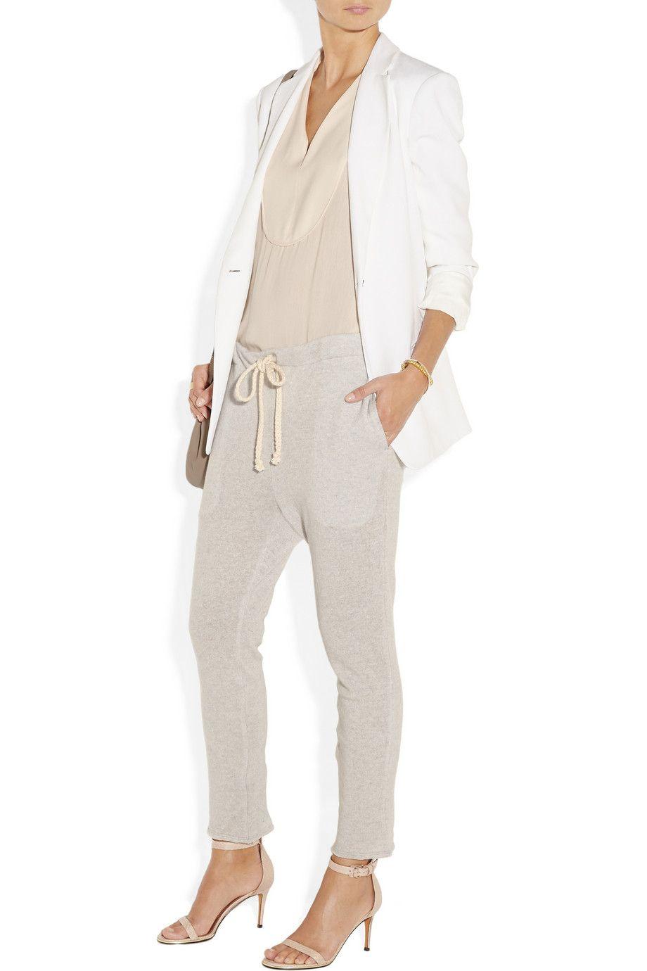 The Elder Statesman|Drop-crotch cashmere and linen-blend track pants|NET-A-PORTER.COM