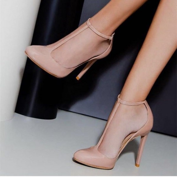 Blush Stiletto Heels Almond Toe T Strap Pumps for Dancing