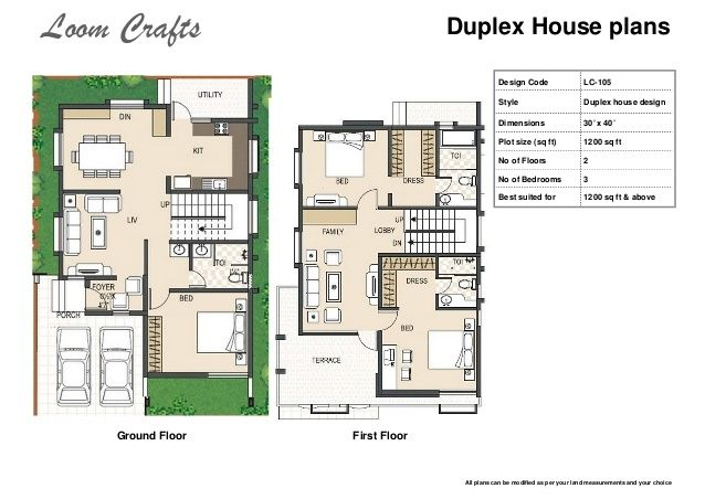 Plush Design Ideas 11 1300 Square Feet Duplex House Plans 1200 Sq Ft Images Plan Also Floor On Home Jp Duplex House Plans Garage House Plans Duplex Floor Plans