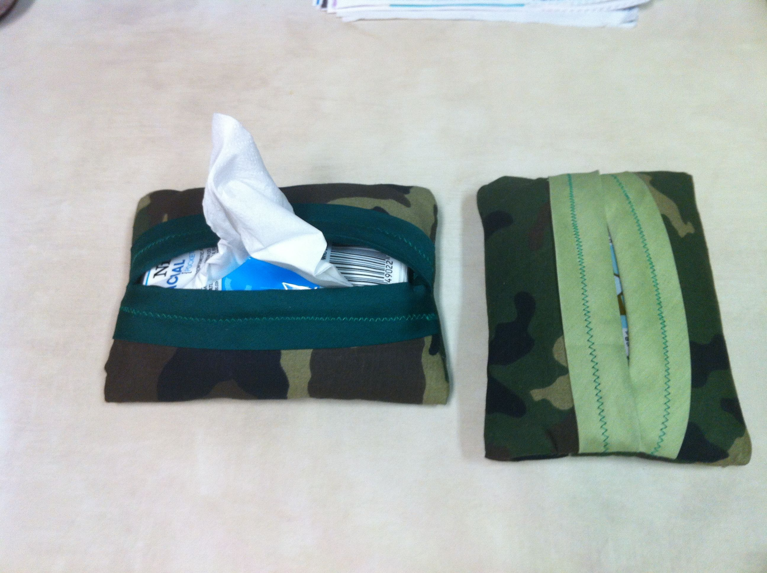 Two different camo tissue holders