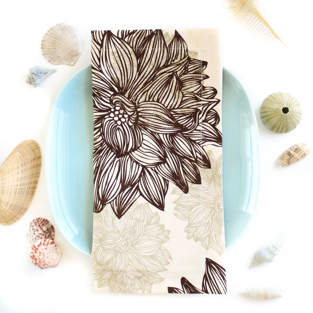 Organic Cotton Napkins in Evelyn & Janette Brown Flowers, Set of Four -- Island Picnic