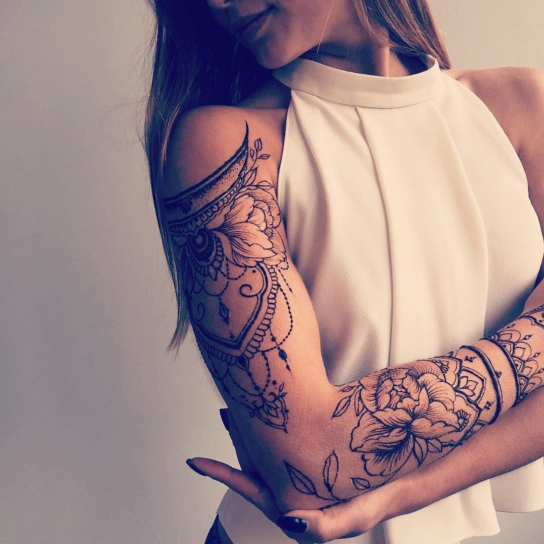 Repost veronicalilu ・・・ Floral henna sleeve Shoulder