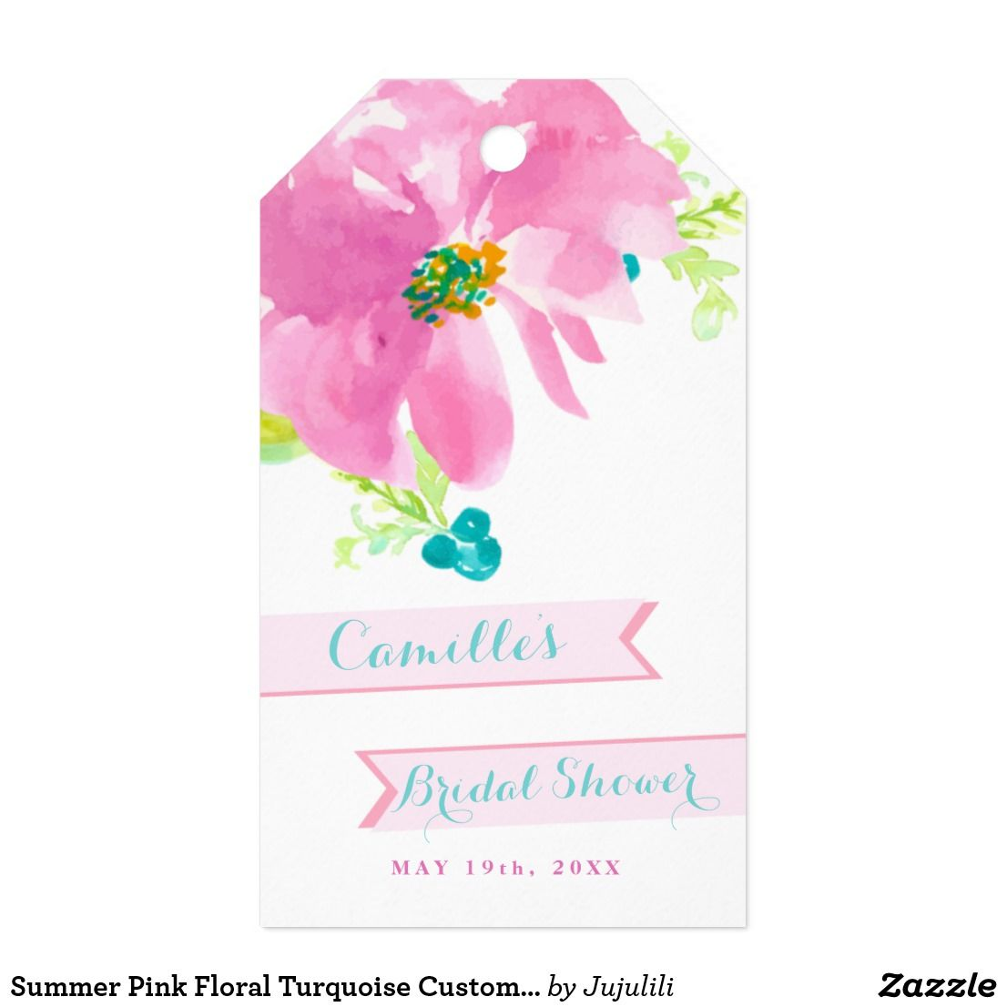 Summer Pink Floral Turquoise Custom Bridal Shower Gift Tags | Bridal ...