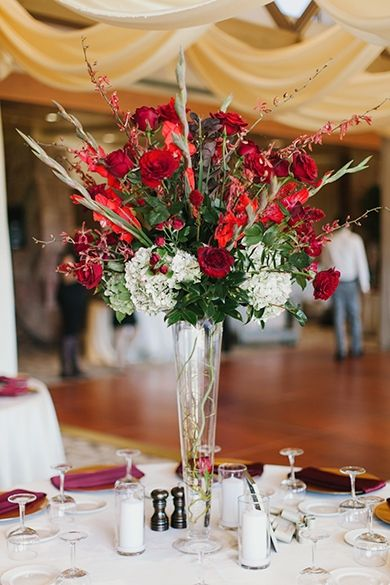 Twigs And Posies Red Gold Burgundy White Wedding Flowers