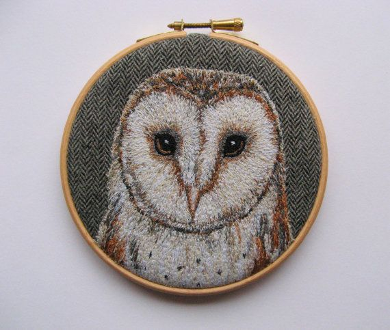 Barn Owl embroidery, bird embroidery, embroidery hoop textile art, woodland,home decor.