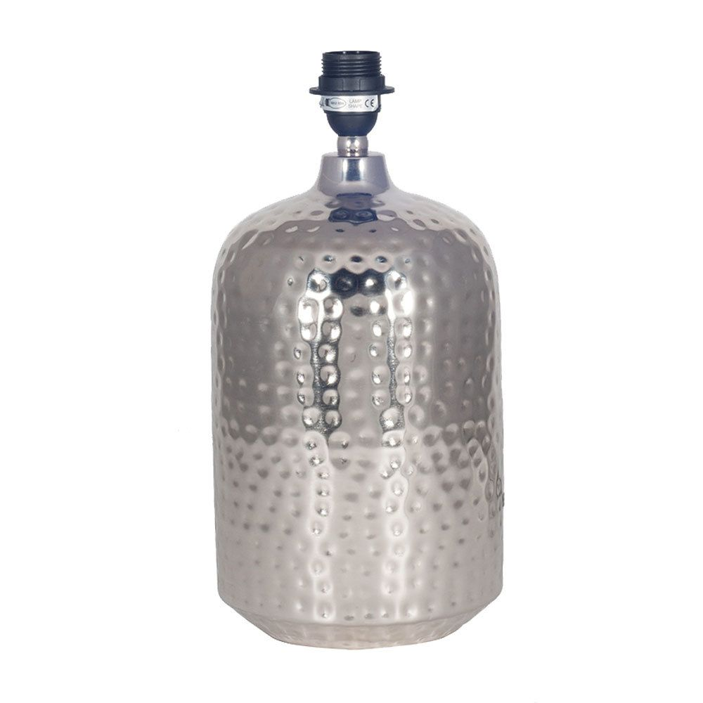 Nickel Silver Hammered Pot Table Lamp