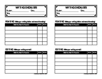 Have you ever felt that your Revising and Editing Checklists you use with your whole class don't address your students' individual needs? Then this is the product for you!  I created these Writing Checklists to use with students during writing conferences with me, and also when they revise and edit (alone and with a partner).
