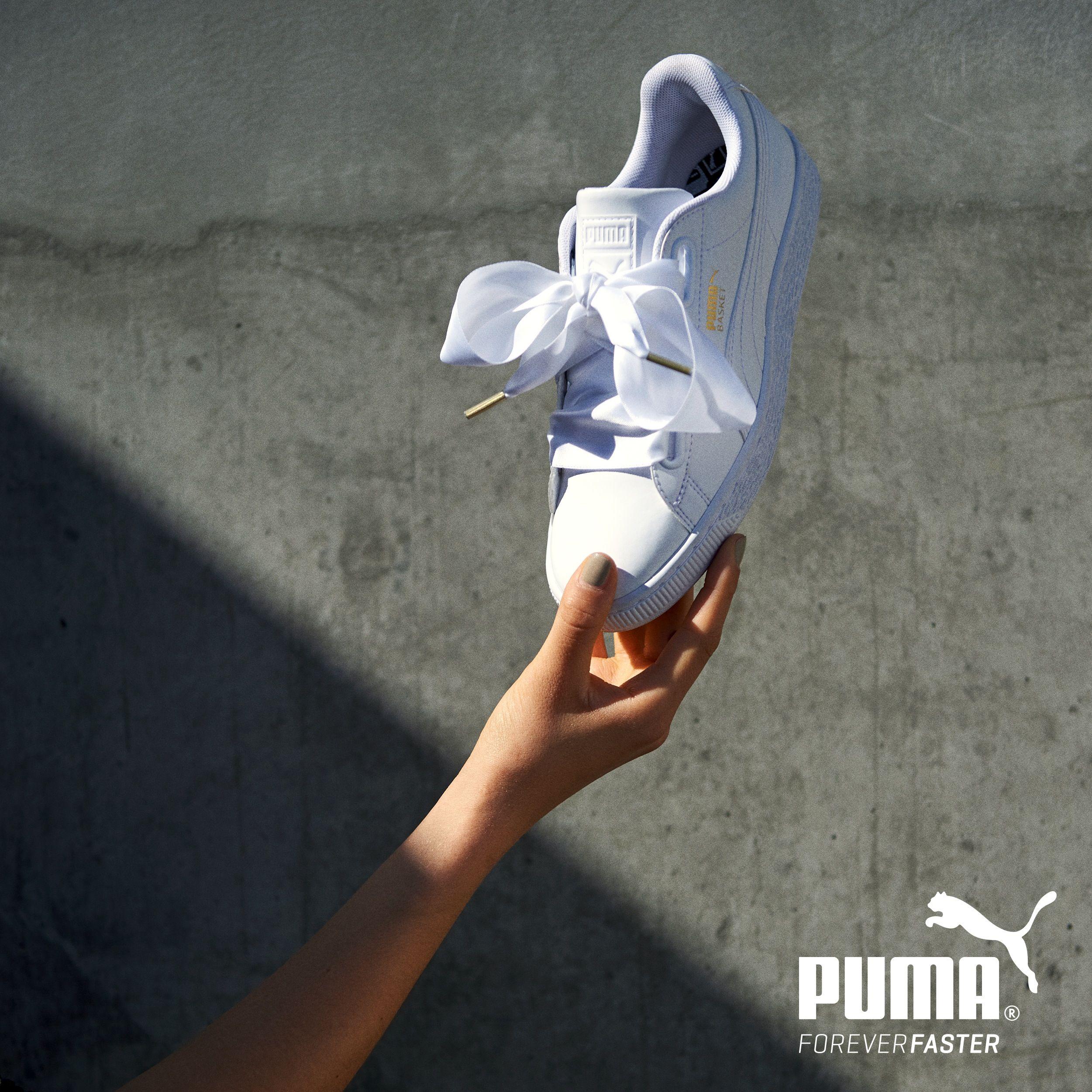 puma heart blanche noeud rose