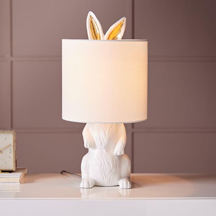 Ceramic Nature Rabbit Table Lamp Bunny Lamp Table Lamp Animal Lamp