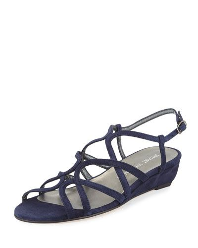 STUART WEITZMAN Turningdown Suede Demi-Wedge Sandal, Baltic Blue. #stuartweitzman #shoes #sandals
