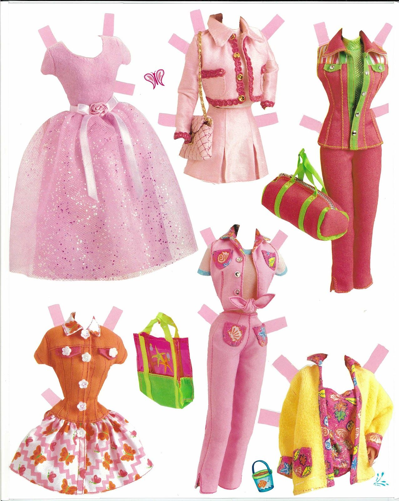 Bonecas de Papel - Barbie com roupas para imprimir - Brinquedos de Papel