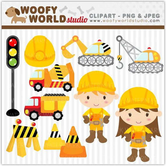 Truck And Crane Construction Kid Clipart By WoofyWorldStudio 500