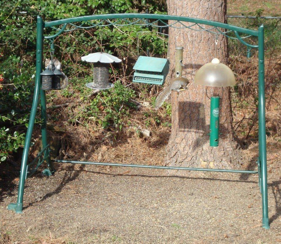 Re-purposed swing/glider bird feeding station