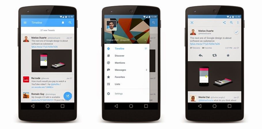 "(Concept) Twitter Applications For Android With Design ""Material Design"" 