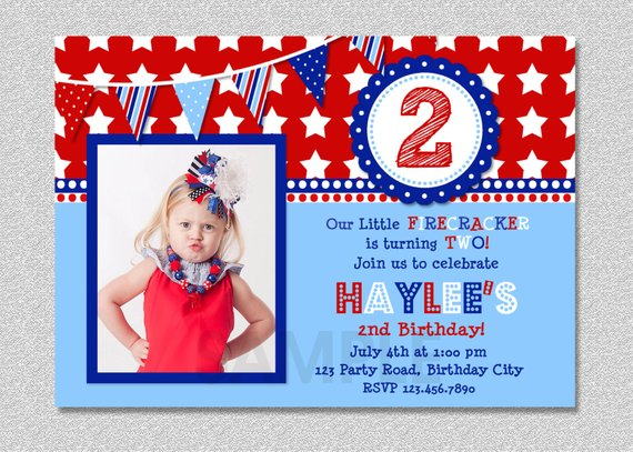 4th Of July Birthday Invitation Red White And Blue Boys Girls Fourth I