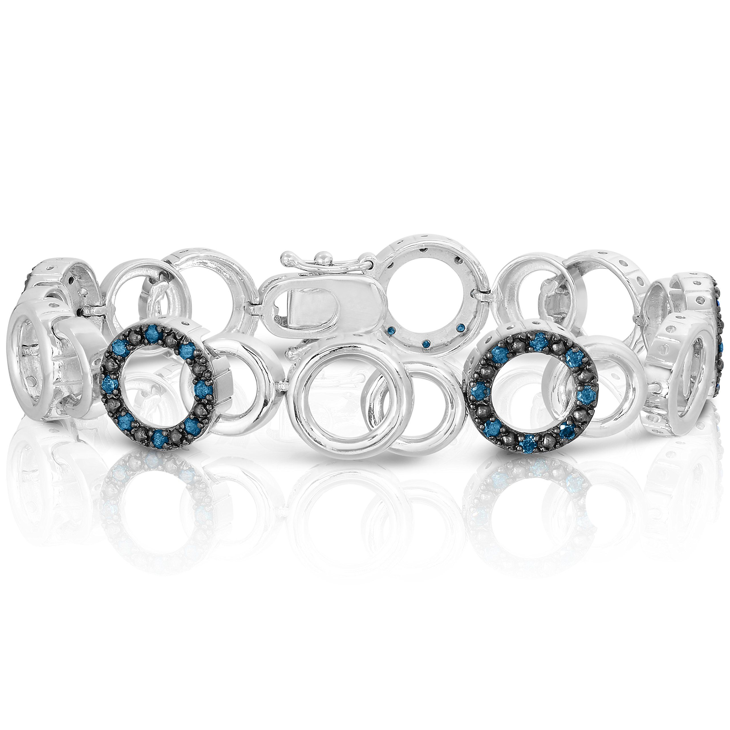 Sterling silver blue diamond bracelet ct ueueue want to know more