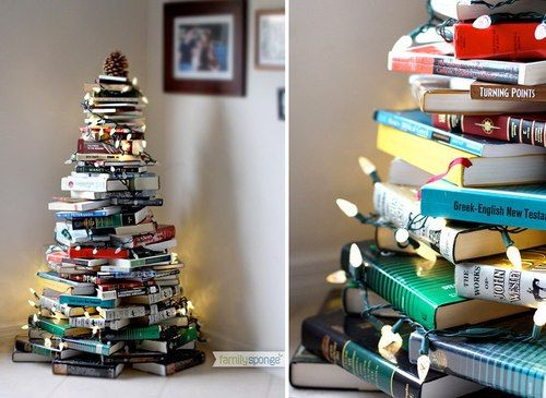Christmas Tree made from books by Family Sponge