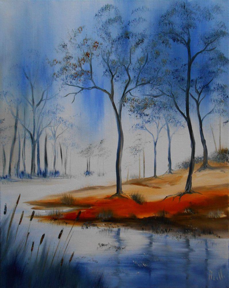 tableau paysage la rivi re bleue peintures axelle bosler peintures par peintures axelle. Black Bedroom Furniture Sets. Home Design Ideas