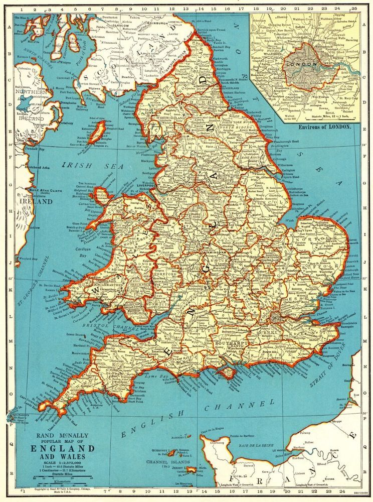 Atlas Map Of England.1940 Vintage Map Of England Wales Map Antique United Kingdom Map