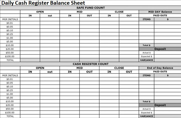 Daily Cash Register Balance Sheet Excel Format Spreadsheettemple Balance Sheet Balance Sheet Template Cash Register