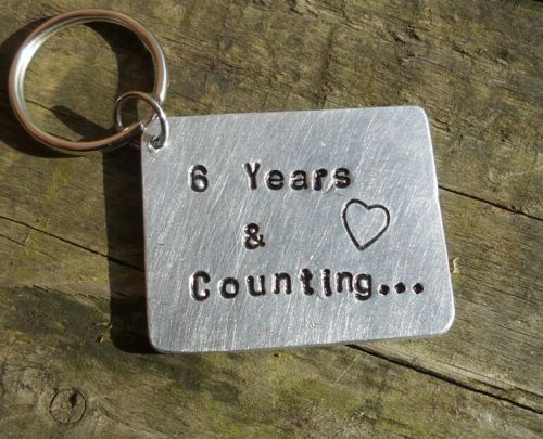 6th Wedding Anniversary Gift Keyring 6 YEARS & Counting