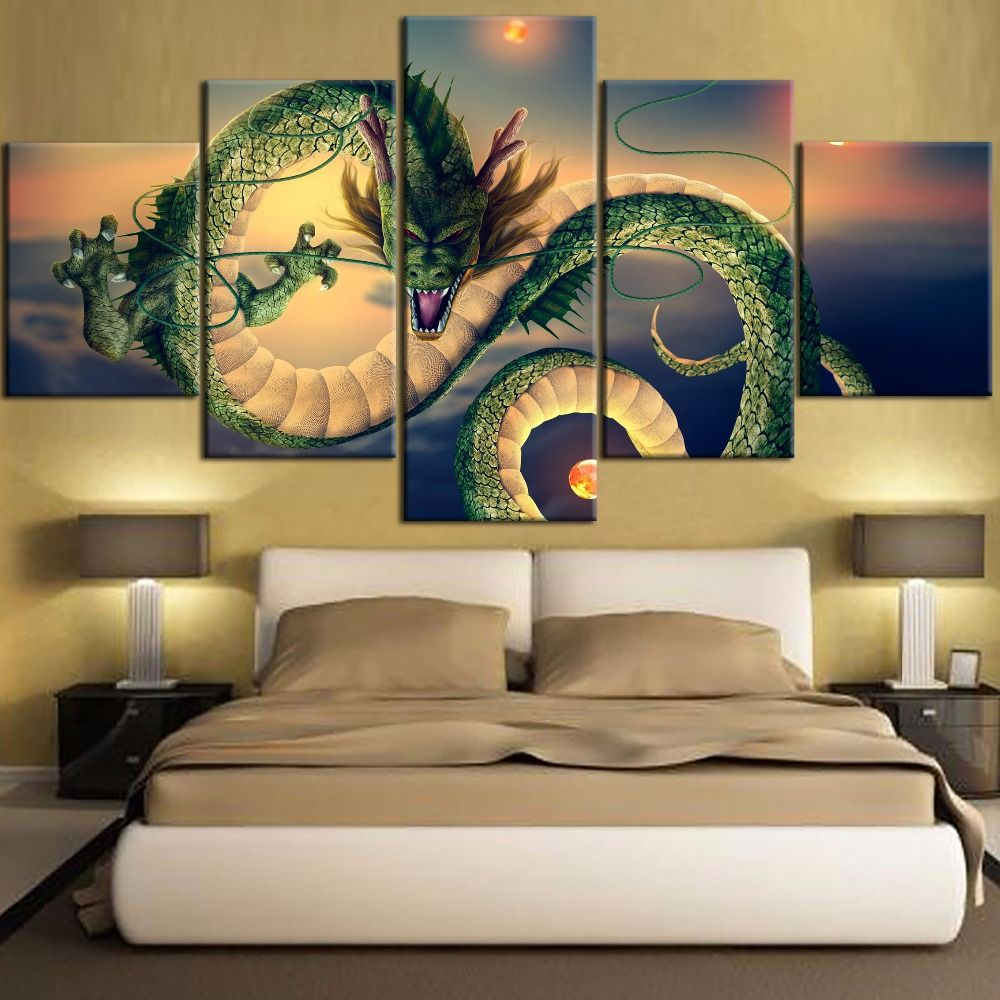 5 pieces framed dragon ball anime painting dragon type