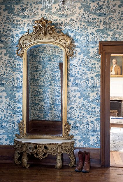 Vintage Foyer Wallpaper : Traditional toile wallpaper and an antique pier mirror