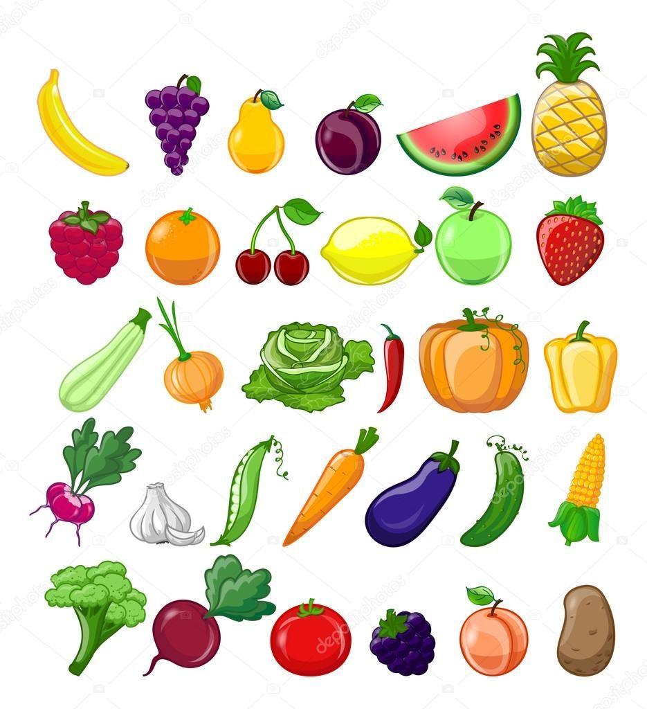 Dibujos Animados De Frutas Organicas Y Vegetales Iconos Conjunto Verduras Dibujo Frutas Y Verduras Frutas Y Verduras Imagenes