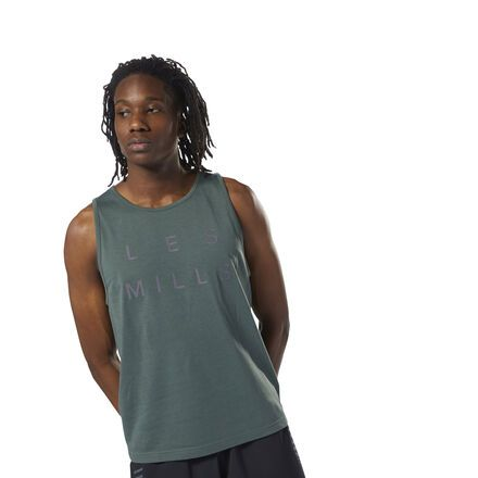 Reebok Men's LES MILLS™ Dual Blend Tank in Chalk Green Size