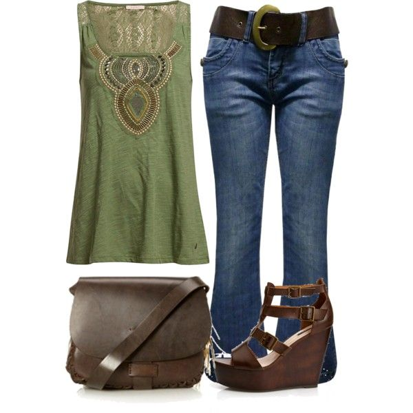 """""""Olive green tribal top"""" by laura-blakney on Polyvore Olive light pale green tribal top tank embroidery jeans denim belt purse summer casual brown leather"""