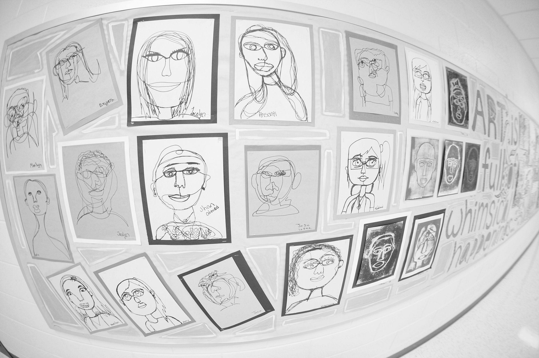 6th Grade Art Bulletin Board Contour Portraits