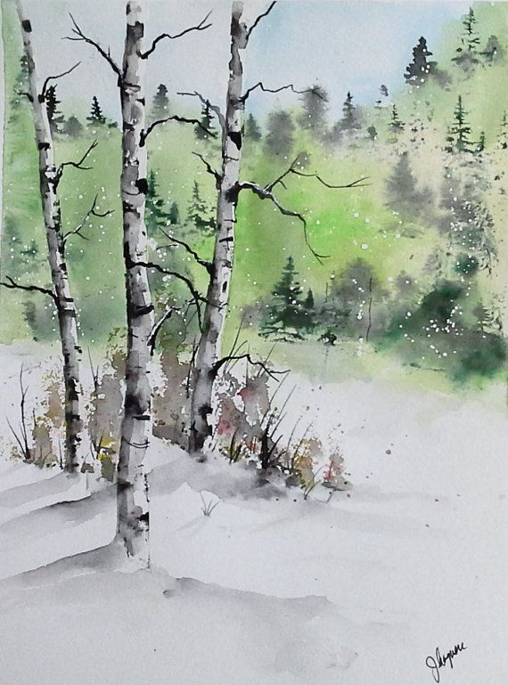 Original Watercolor Painting Maine Landscape Arbres En