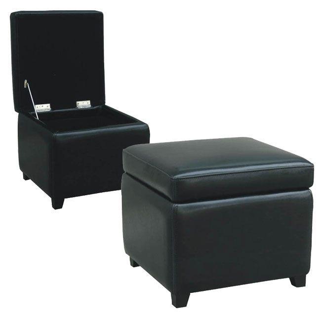 Studio Barcy Black Bi-cast Leather Storage Cube Ottoman, Size Medium ...