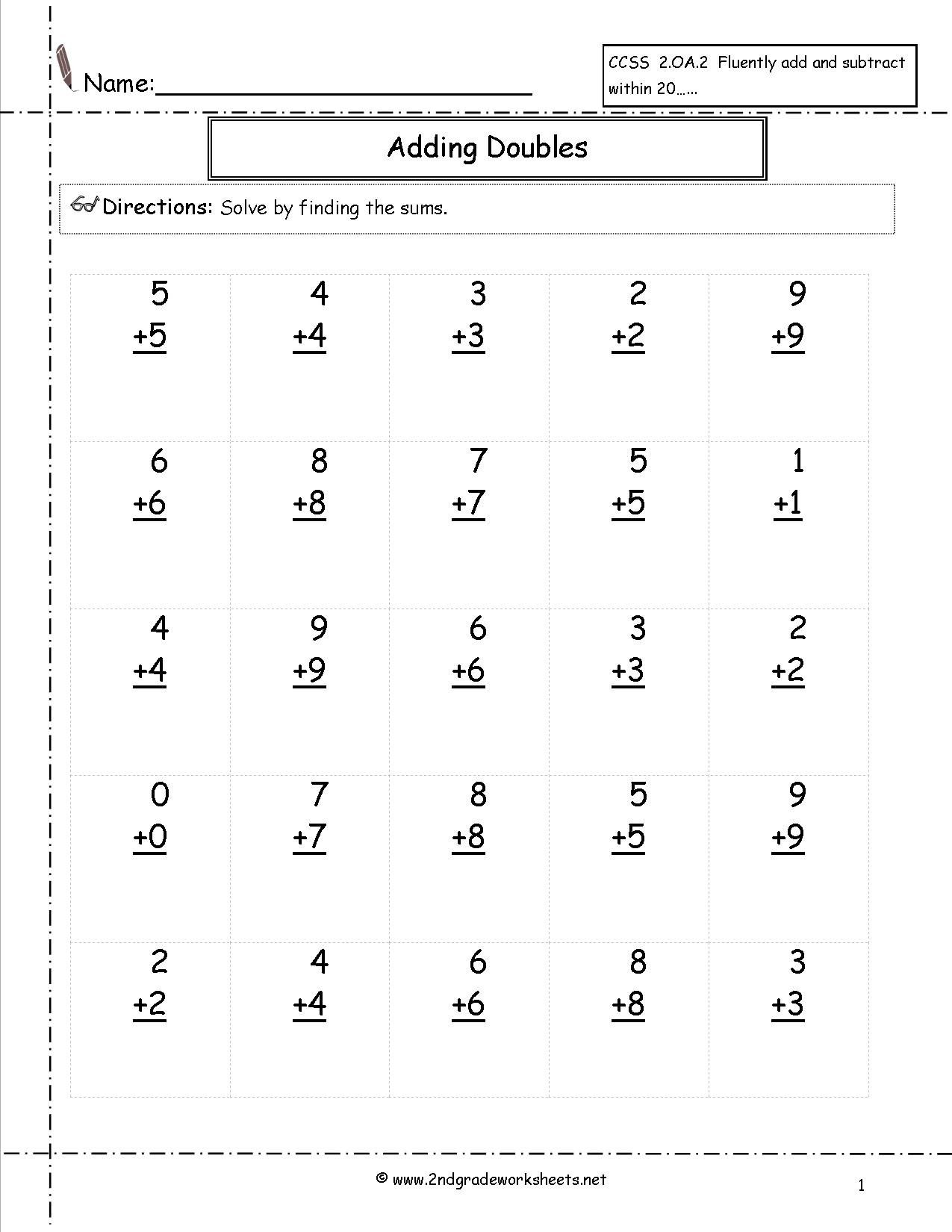 5 Addition Facts To 20 Worksheets In