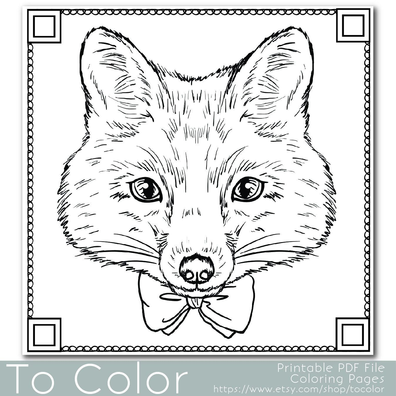 Coloring Pages Pdf : Fox coloring page for adults pdf jpg instant download
