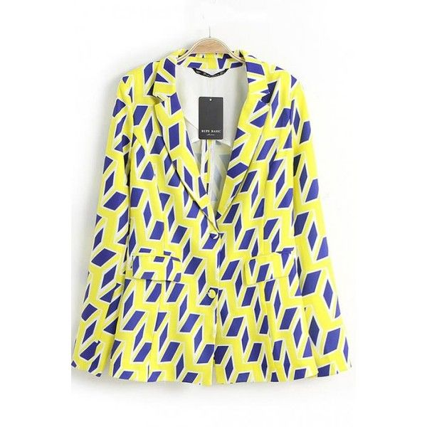 Geometric Rhomb Print Button Front Blazer (88 BRL) ❤ liked on Polyvore featuring outerwear, jackets, blazers, print blazer, pattern jacket, blazer jacket, yellow jacket and print jacket