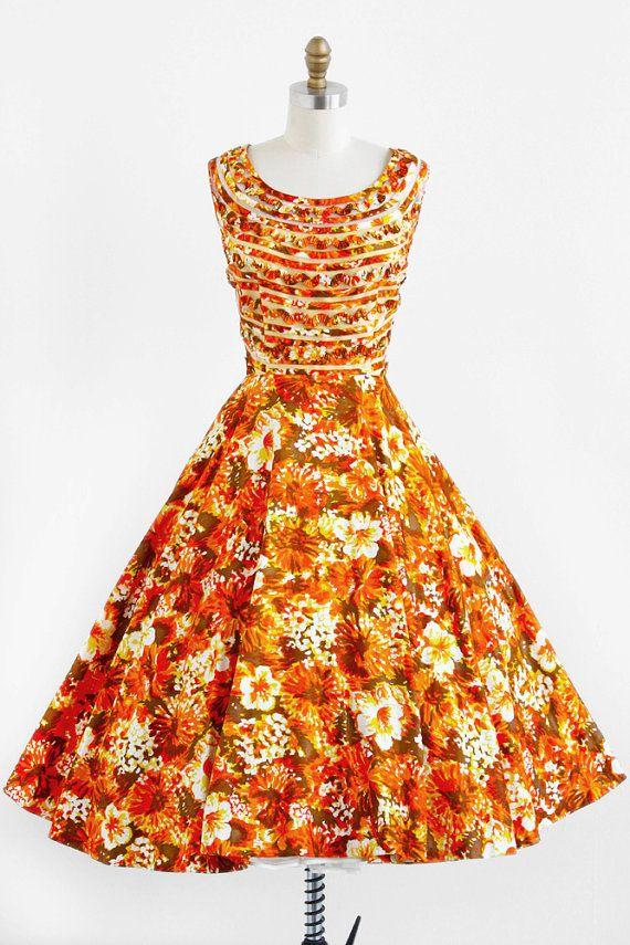 vintage 1950s dress / 50s dress / Orange Hawaiian Floral Print Party Dress