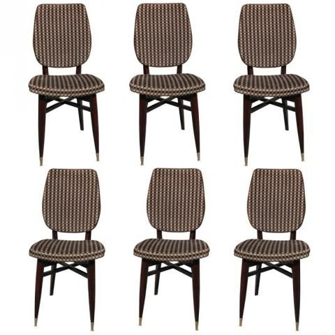 Set 6 French Art Deco Solid Mahogany Dining Chairs Modernism ART