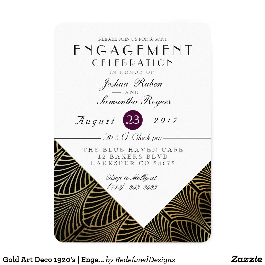 Gold Art Deco 1920\'s | Engagement Party Invite This Gatsby ...