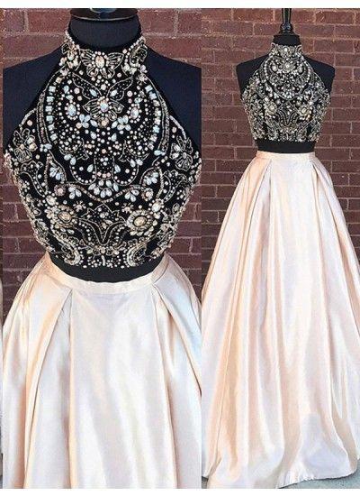Two Piece Abendkleider Strass Stehkragen Perlenstickerei Elastischer Gewebter Satin Abendkleider #VB1035 #eveningdresses
