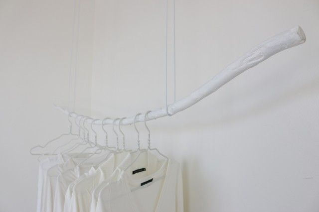 painted white: white hangers & white clothes