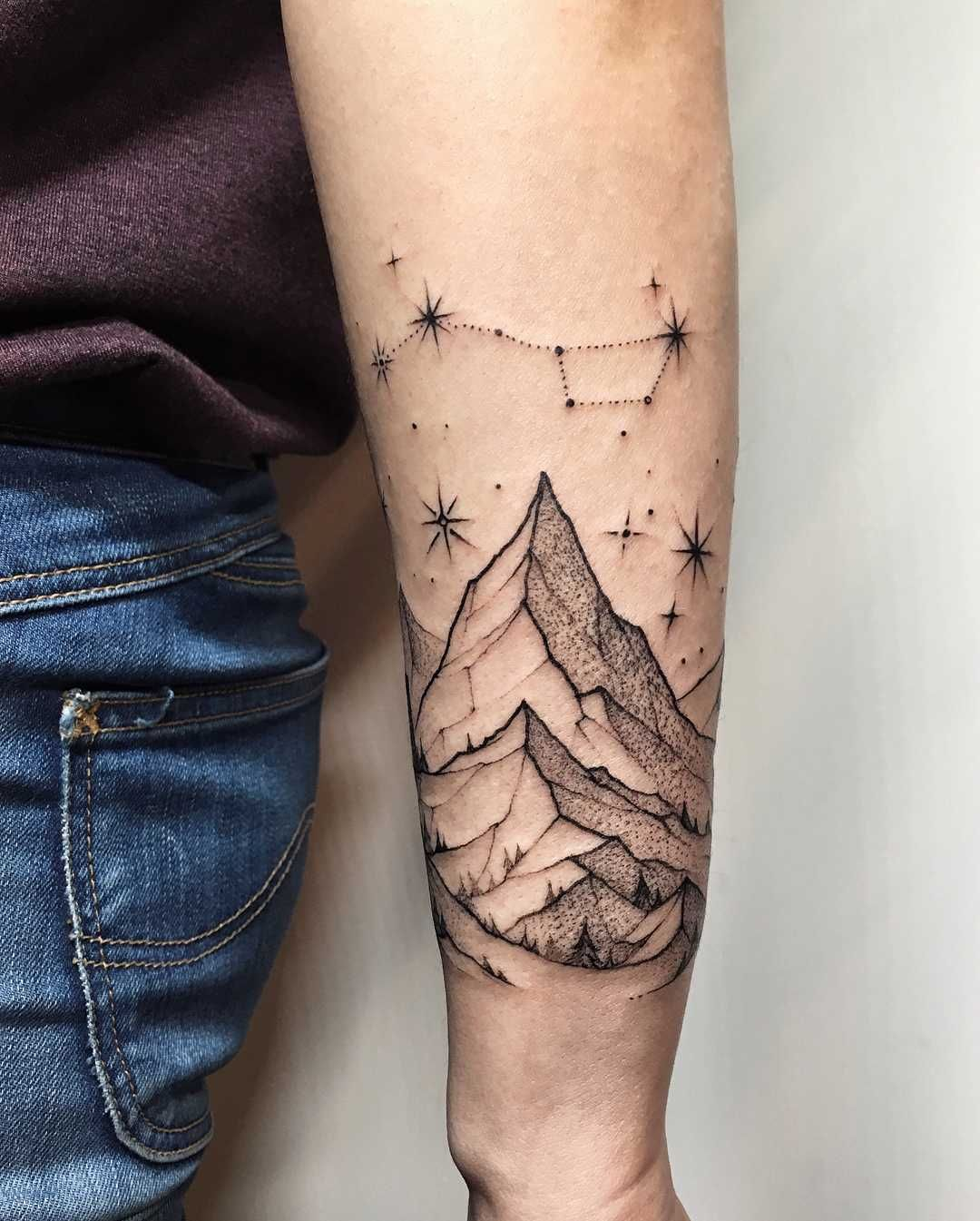 Mountains and big dipper constellation tattoo on the