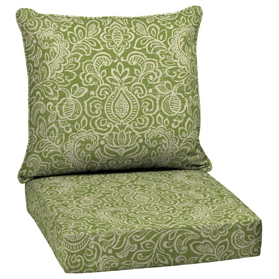 Garden Treasures Green Stencil Glenlee Damask Deep Seat Patio Chair Cushion  For Deep Seat Chair