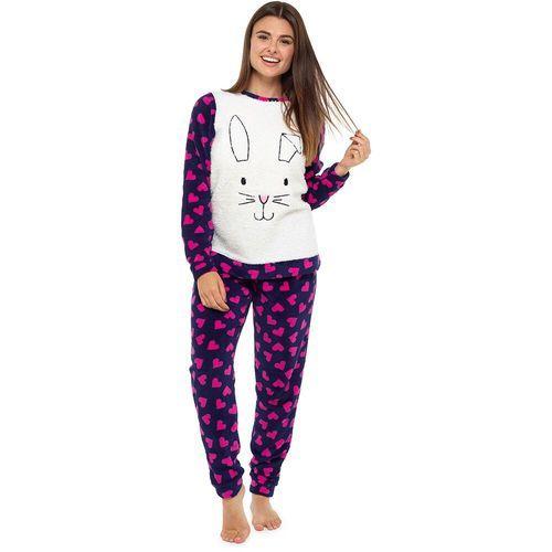 9063414f500b Ladies Cute Animal Heart Design Cosy Fleece Twosie  Navy Bunny ...