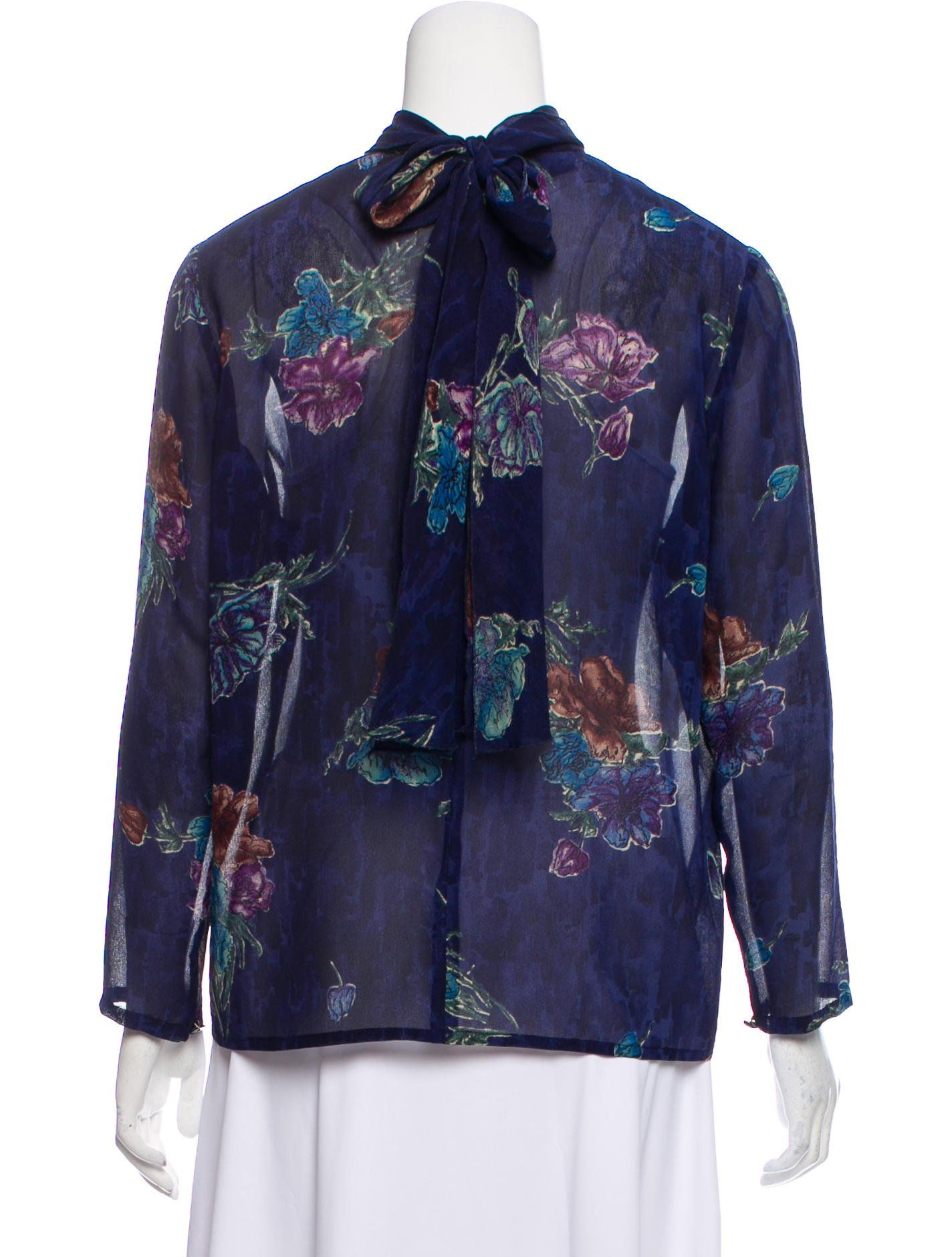 ad5a82d8dfd25 Navy and multicolor Emanuel Ungaro chiffon blouse with floral print  throughout