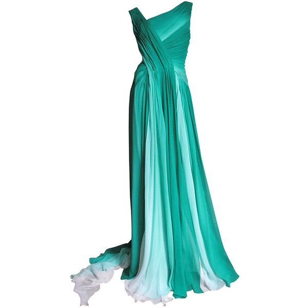 Preowned Monique Lhuillier Emerald Silk Ombre Gown With Train ($2,400) ❤ liked on Polyvore featuring dresses, gowns, long dresses, vestidos, green, long gowns, blue dress, long silk gown, long evening dresses and wrap dress