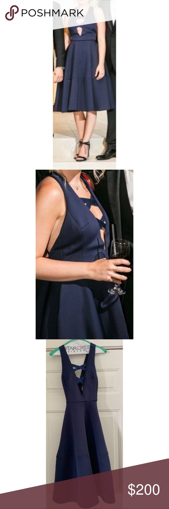 Bronx and Banco navy cocktail dress This dress is amazing! Cross detailing in both front and back. Dress is very flattering and holds shape. Worn once and has been professionally dry cleaned. Bronx and Banco Dresses Backless #backlesscocktaildress