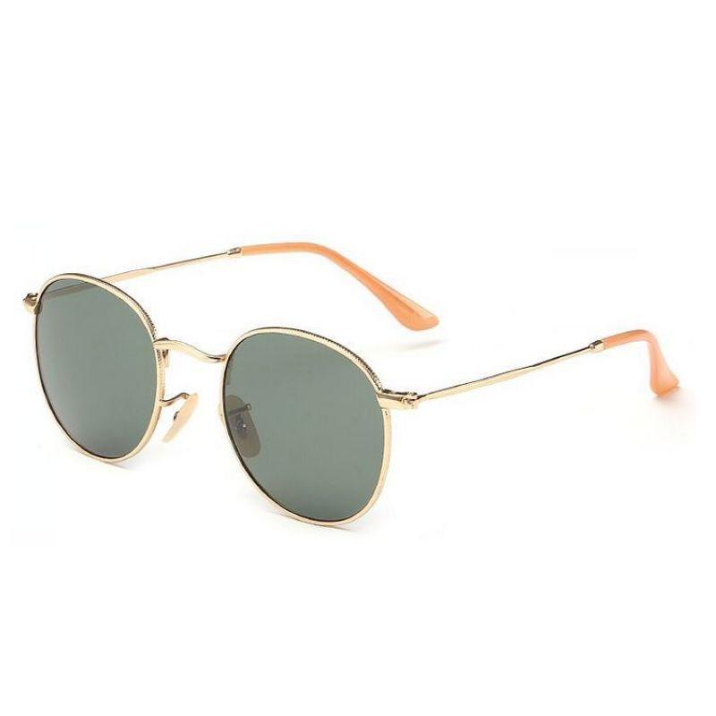 7f30cce36fa Round Metal Sunglasses Gold-Tone Wire-Frame Hook-around Arms Polarized  Green Lens